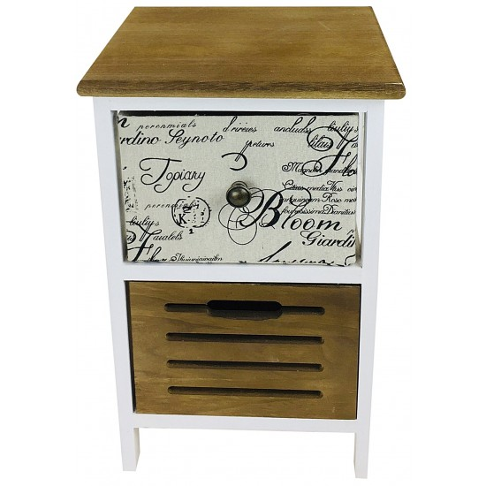 White Wooden Side Table With 2 Drawers 47cm