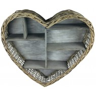 Wicker Heart Shelf Unit 52cm