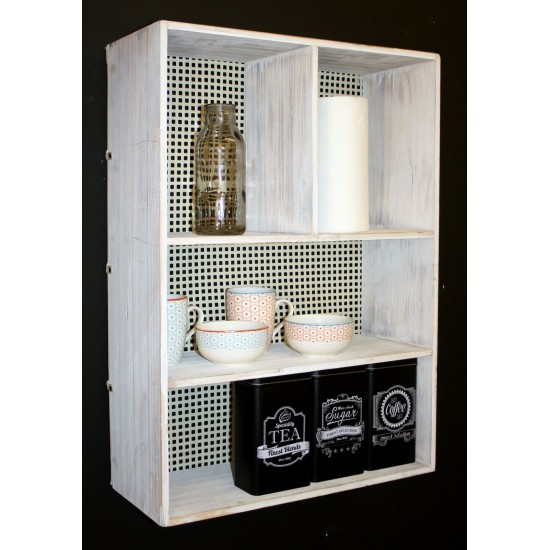 Wooden and Metal Wall Shelf Unit Cream