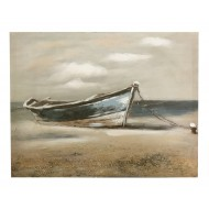 Wooden Boat Canvas - Blue Boat