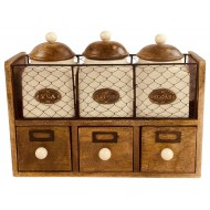 Wooden Cabinet With 3 Jars & Drawers