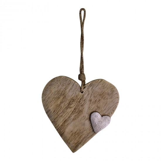Wooden Hanging Heart Ornament with Silver Heart
