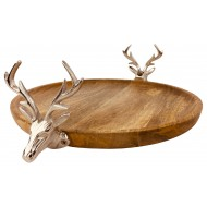Wooden Stag Tray 33.5cm