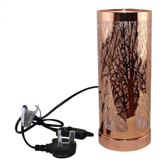 Woodland Design Colour Changing LED Lamp & Aroma Diffuser in Rose Gold
